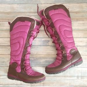 Timberland Pink Lace Up High Winter Boots Sz 8